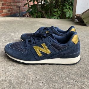 New Balance 696 Navy Suede and Gold Sneakers